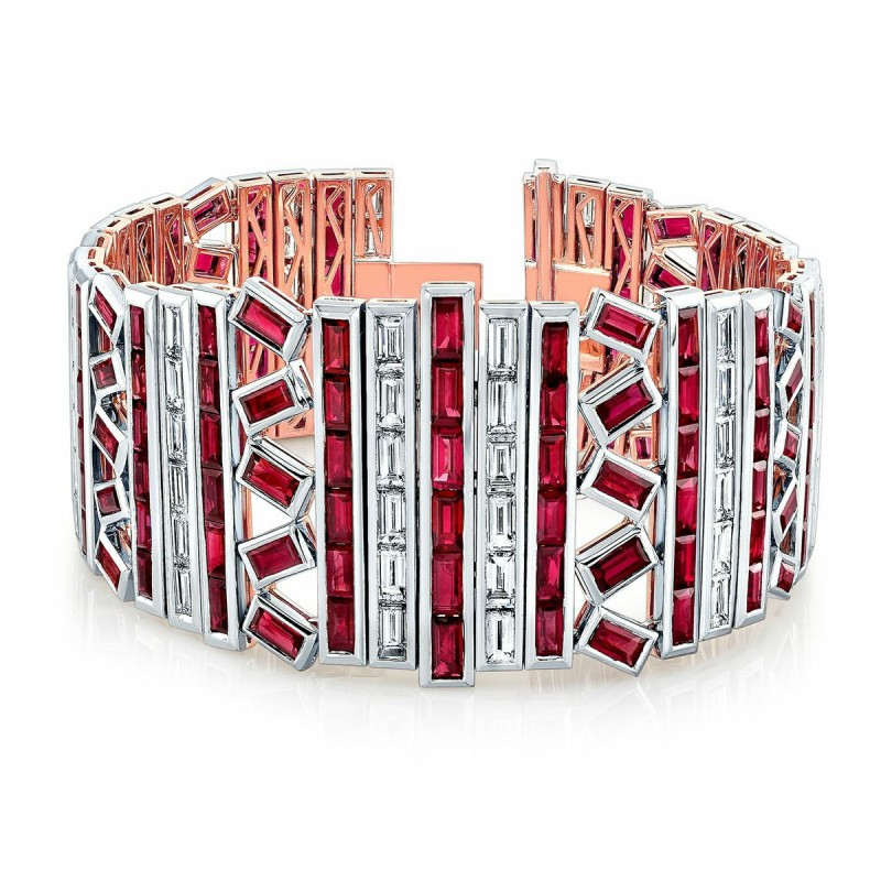 An Exquisite Burma Ruby and Diamond Bracelet in 18K White Gold and Rose Gold