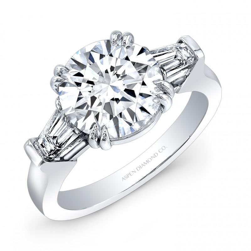 Round Brilliant Diamond Tapered Baguettes Engagement Ring in Platinum
