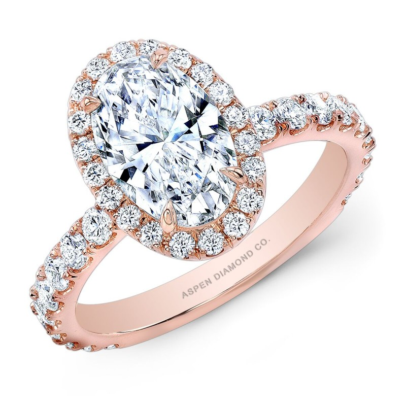 Oval Diamond Halo Engagement Ring in 18K Rose Gold