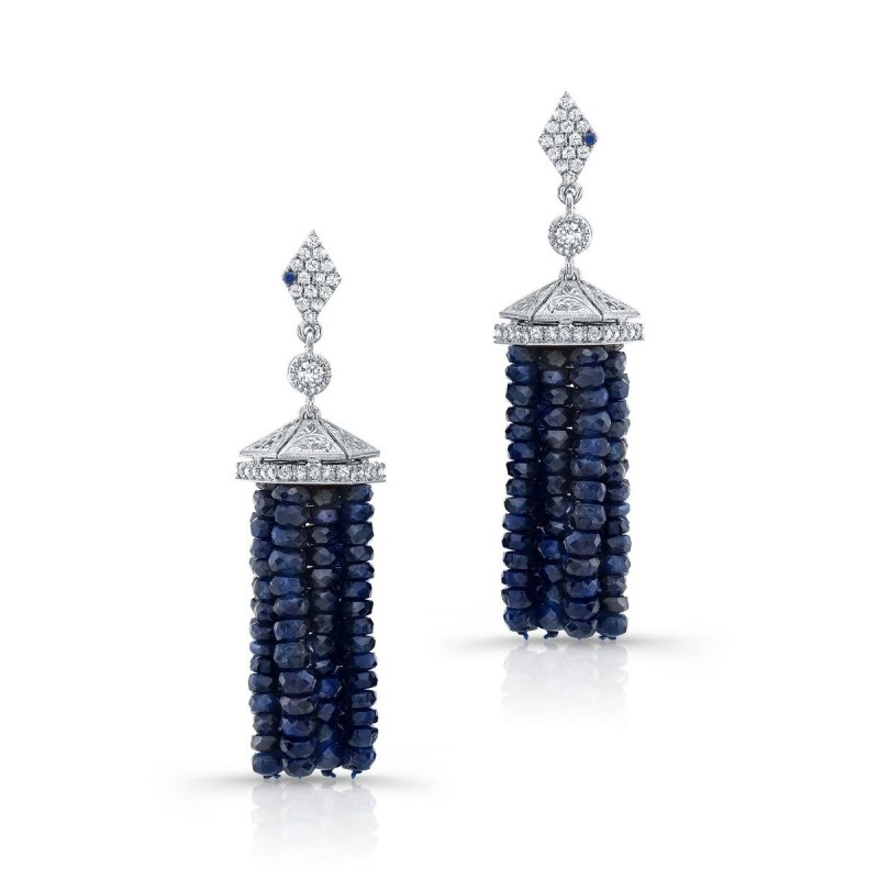 DEEP BLUE SAPPHIRE TASSEL EARRINGS