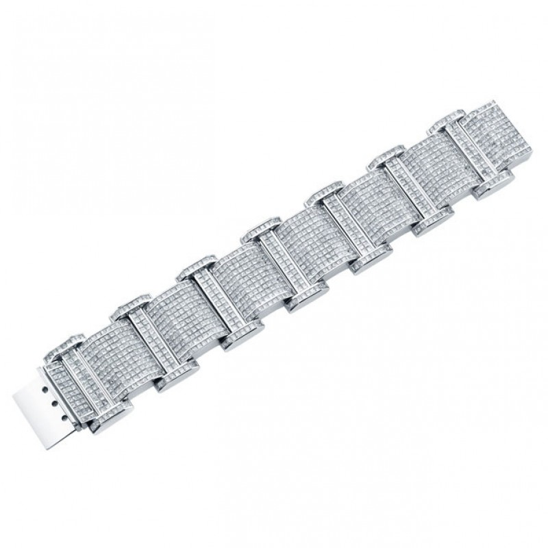 Princess Cut Diamond Men's Bracelet in 18K White Gold
