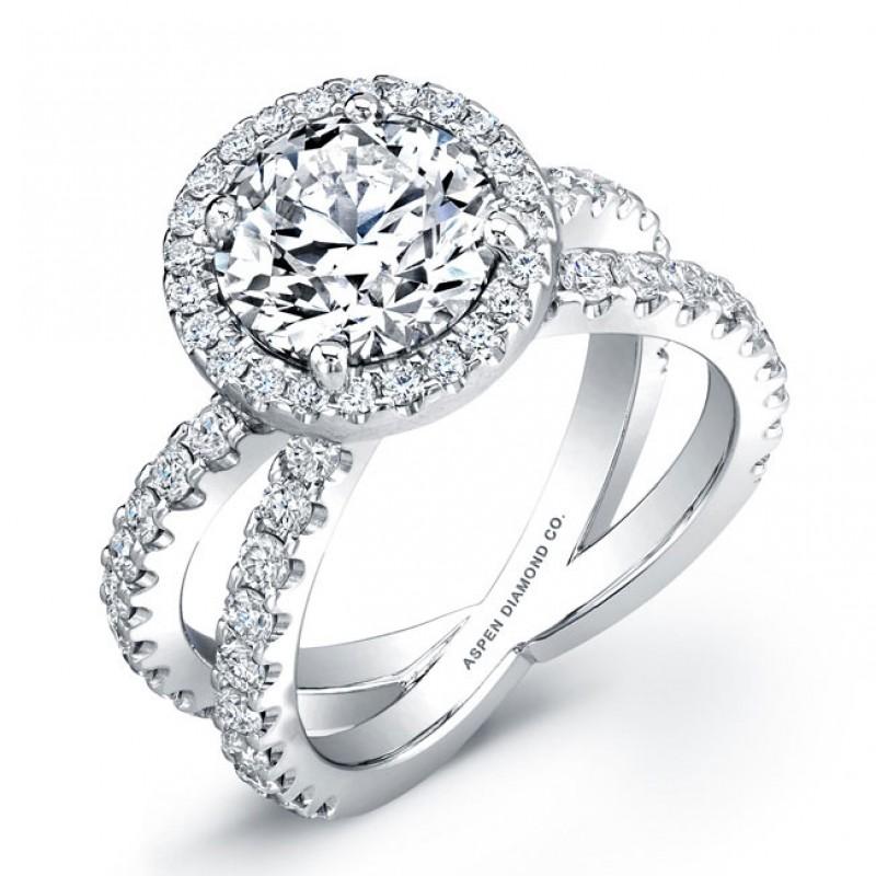 Round Brilliant Diamond Engagement Ring in18K White Gold