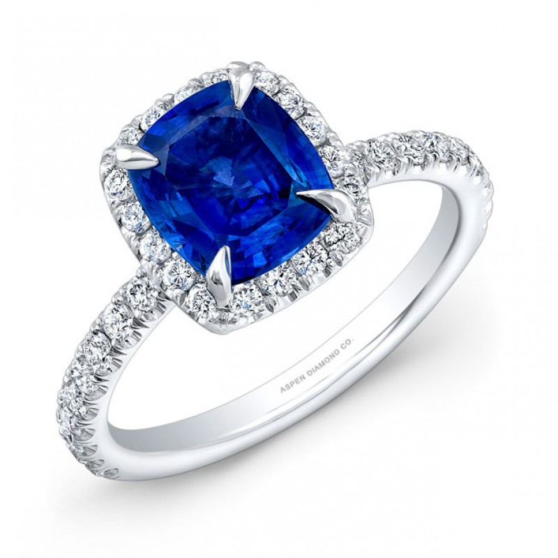 Cushion Cut Sapphire Diamond Halo Engagement Ring in Platinum