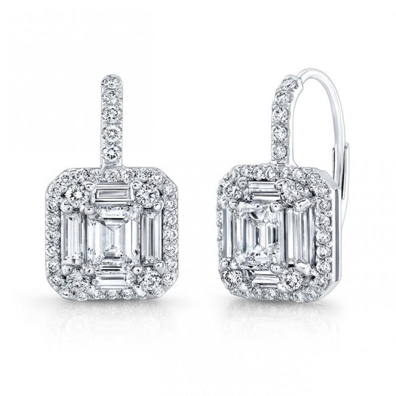 Emerald Cut Micropavé Diamond Earrings in 18K White Gold