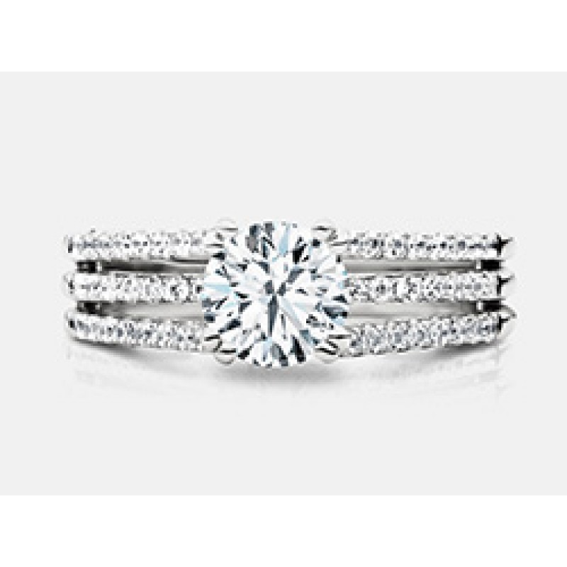 Round Brilliant Diamond 3 Layered Shank Engagement Ring in 18K White Gold