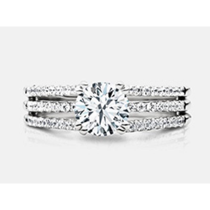 Round Brilliant Diamond 3 Layered Shank Engagement Ring in 18K White Gold