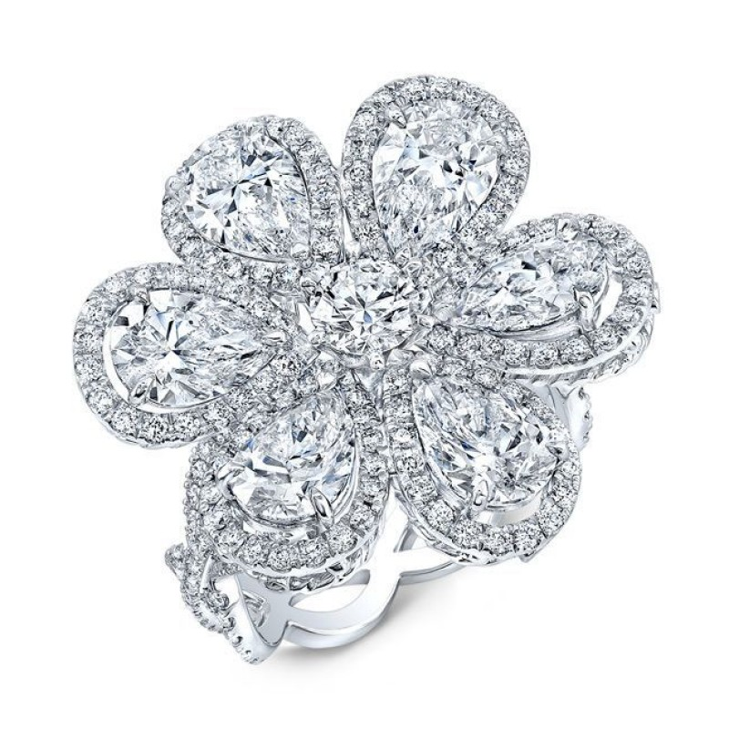 Diamond 6.20 Total Carat Weight Wild Flower Ring in Platinum