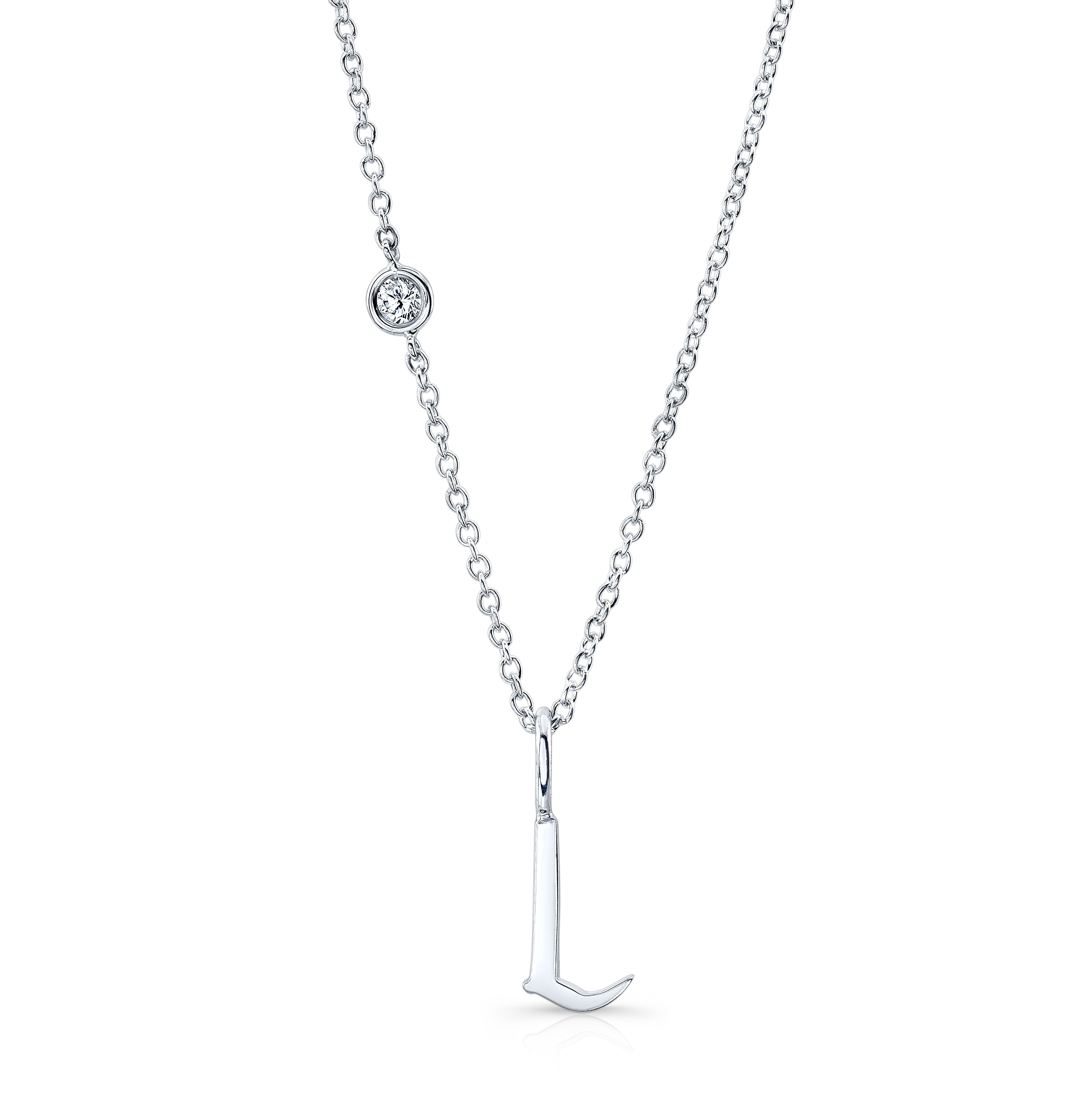 Original ALPHABET Necklace with Diamond in 18K White Gold