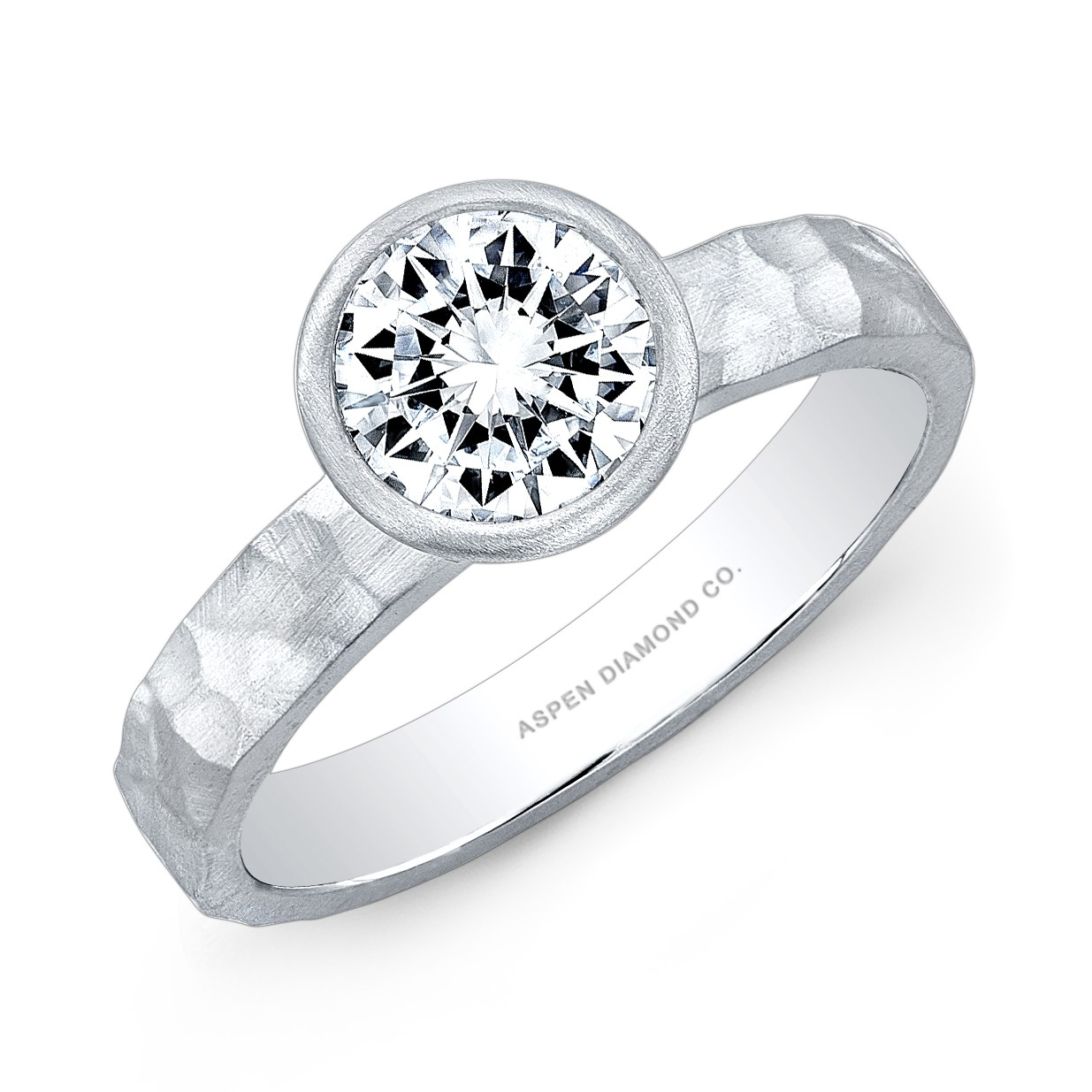 Round Brilliant Diamond Hammered Platinum Ring
