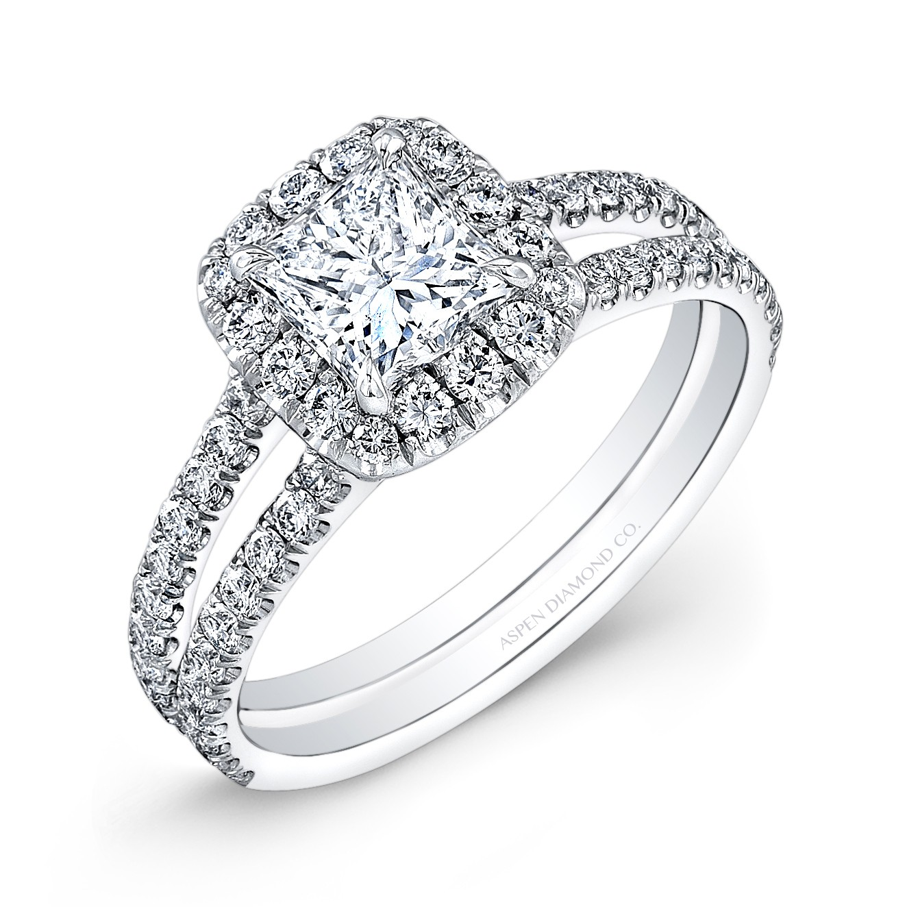 Princess Cut Diamond Halo Engagement Ring in 18K White ...