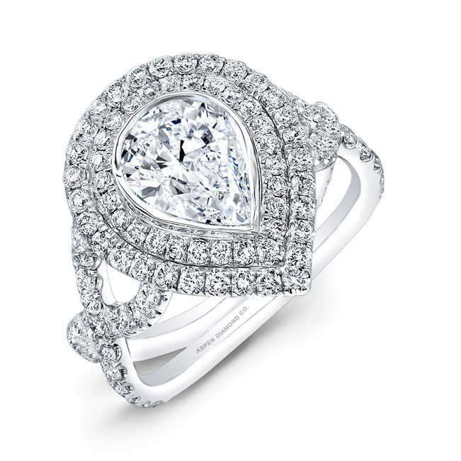 Pear Shaped Diamond Double Halo Engagement Ring in Platinum