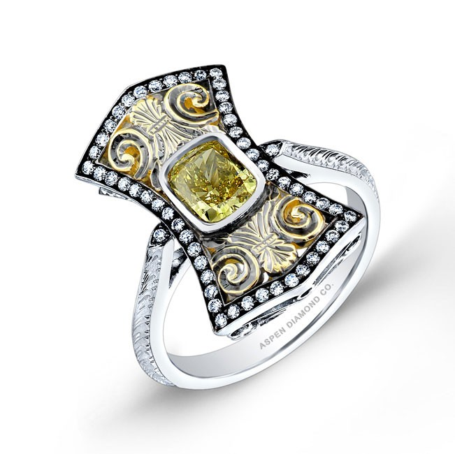 Yellow Diamond Vintage Style Ring in Platinum