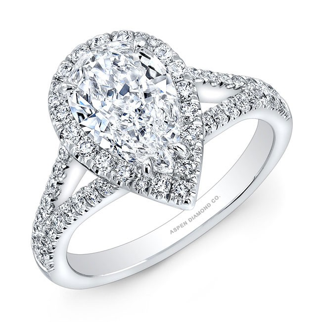Pear Shaped Pave Halo Diamond Engagement Ring in 18K White Gold