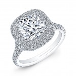 Cushion Cut Diamond Double Halo Engagement Ring in 18K White Gold