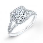 Princess Cut Pavé Diamond Engagement Ring in Platinum