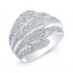 Layered Micropavé Diamond Ring in 18K White Gold