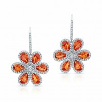 Orange and Sapphire Diamond Wild Flower Earrings in 18K White Gold