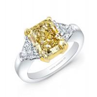 Radiant Cut Fancy Yellow Diamond Ring in Platinum