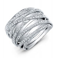 Layered Diamond Ring in 18K White Gold