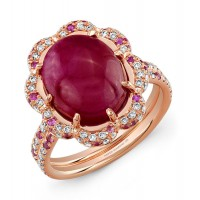 Cabochon Ruby, Pink Sapphire and Diamond Ring in 18K Rose Gold