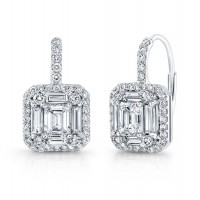 Emerald Cut Micropavé Diamond Earrings in 18K White Gold