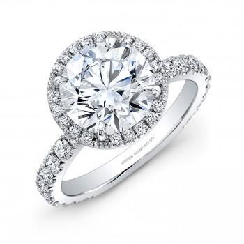 Round Brilliant Diamond Halo Engagement Ring in Platinum