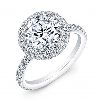 Round Brilliant Diamond Halo Engagement Ring in 18K White Gold
