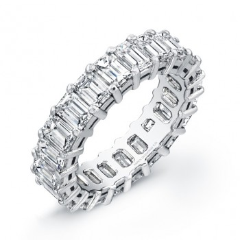 Emerald Cut Diamond Eternity Wedding Band in Platinum