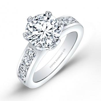 Round Brilliant Pavé Diamond Engagement Ring in Platinum