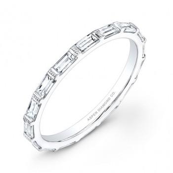 Emerald Cut Eternity Wedding Band in Platinum