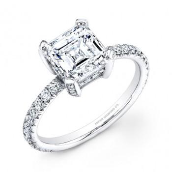 Asscher Cut Pavé Diamond Engagement Ring in Platinum