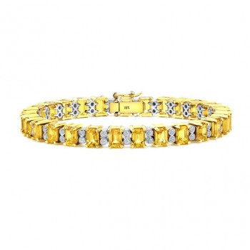 Fancy Yellow and White Diamond Bracelet in 18K White and Yellow Gold