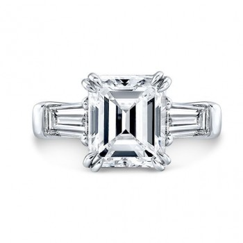 Emerald-Cut and Tapered Baguette Diamond Engagement Ring in Platinum